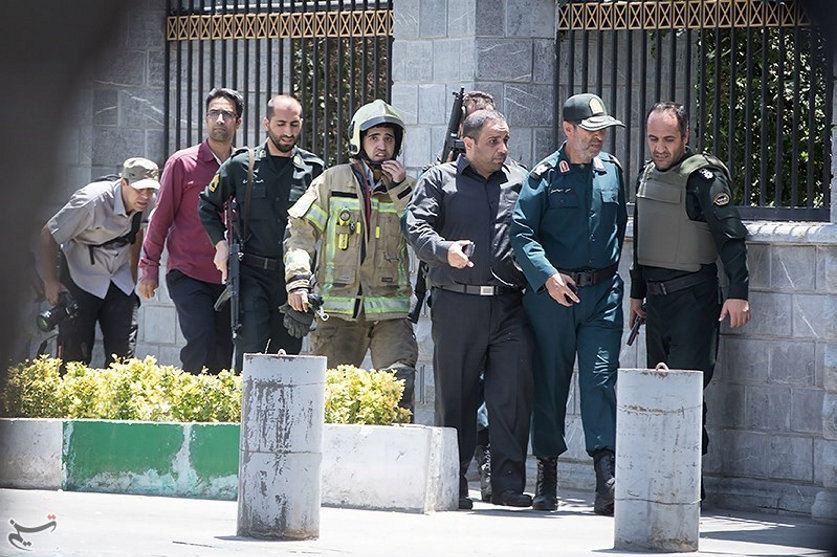 Members of Iranian forces are seen during an attack on the Iranian parliament in central Tehran, Iran on June 7, 2017. (Tasnim News Agency/Handout via REUTERS)