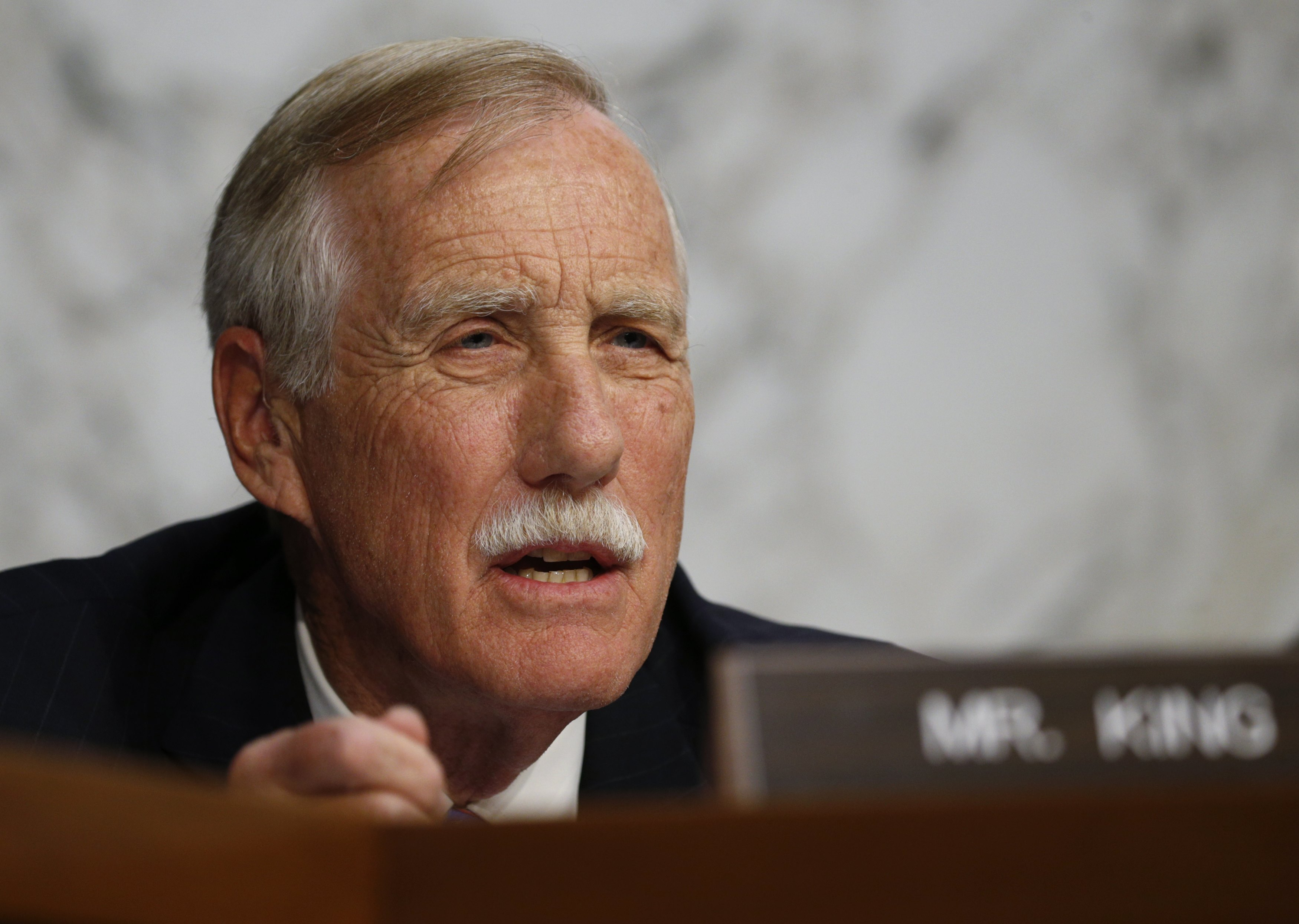 Senator Angus King (I-ME) asks questions at a Senate Intelligence Committee hearing on the Foreign Intelligence Surveillance Act (FISA) in Washington on June 7, 2017. (REUTERS/Kevin Lamarque)