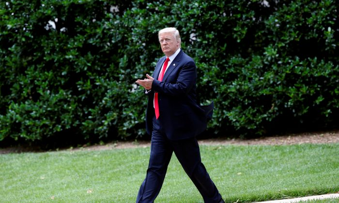 President Donald Trump walks to Marine One as he departs for a day trip to Ohio from the South Lawn of the White House in Washington on June 7, 2017. (REUTERS/Joshua Roberts)