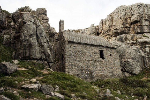 The tiny, almost impossible-to-find St. Govan's Chapel on the rough Welsh coast. (Carole Jobin)