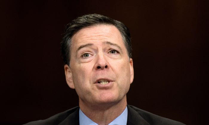 FBI Director James Comey testifies before the Senate Judiciary Committee on Capitol Hill on May 3, 2017. (JIM WATSON/AFP/Getty Images)