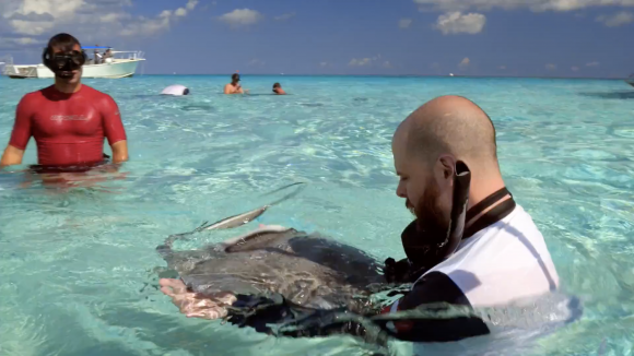 Sean Moore with a stingray during the Force Blue trip to Cayman Islands in May 2017. (Working Pictures)