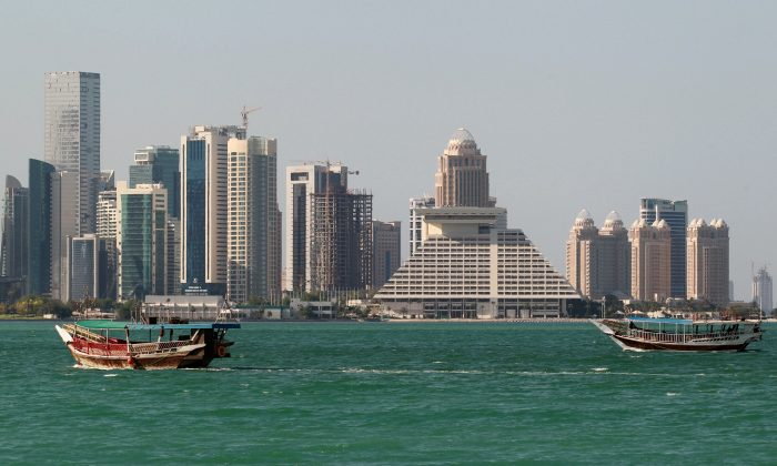 Buildings are seen on a coast line in Doha, Qatar on June 5, 2017. (REUTERS/Stringer)