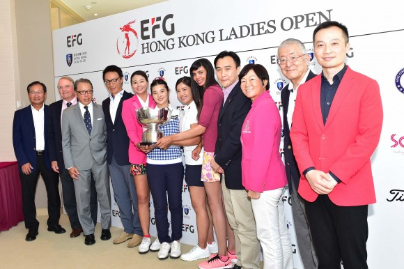 VIP guests together with players Kuo Al-Chen of Taiwan, Zhang Weiwei of China, Tiffany Chan of Hong Kong, and Sharmila Nicollet of India at the press conference at Hong Kong Golf Club Fanling on Wednesday June 7, 2017. (Bill Cox/Epoch Times)