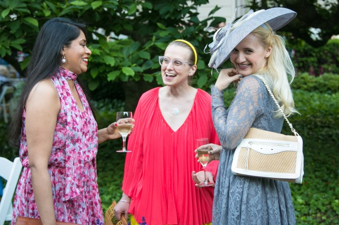 Bindu Manne, Suz Massen, and Annika Conner attend the Frick Museum's annual Spring Garden Party in New York on June 7, 2017. (Benjamin Chasteen/The Epoch Times)