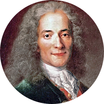François-Marie Arouet (1694–1778), known as Voltaire, a philosopher and anti-religious writer of the French Enlightenment.
