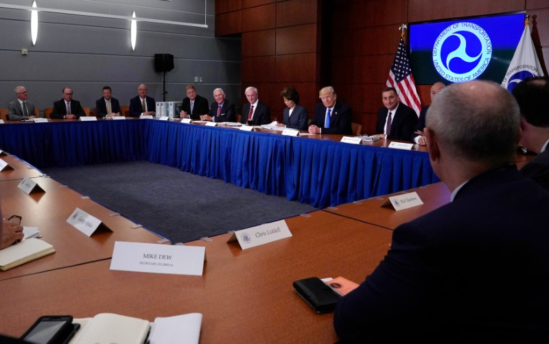President Donald Trump participates in a roundtable discussion at the Department of Transportation in Washington on June 9, 2017. (Reuters)