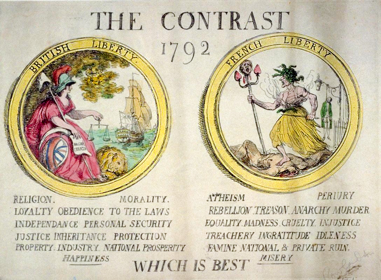 A 1792 caricature by Thomas Rowlandson contrasts