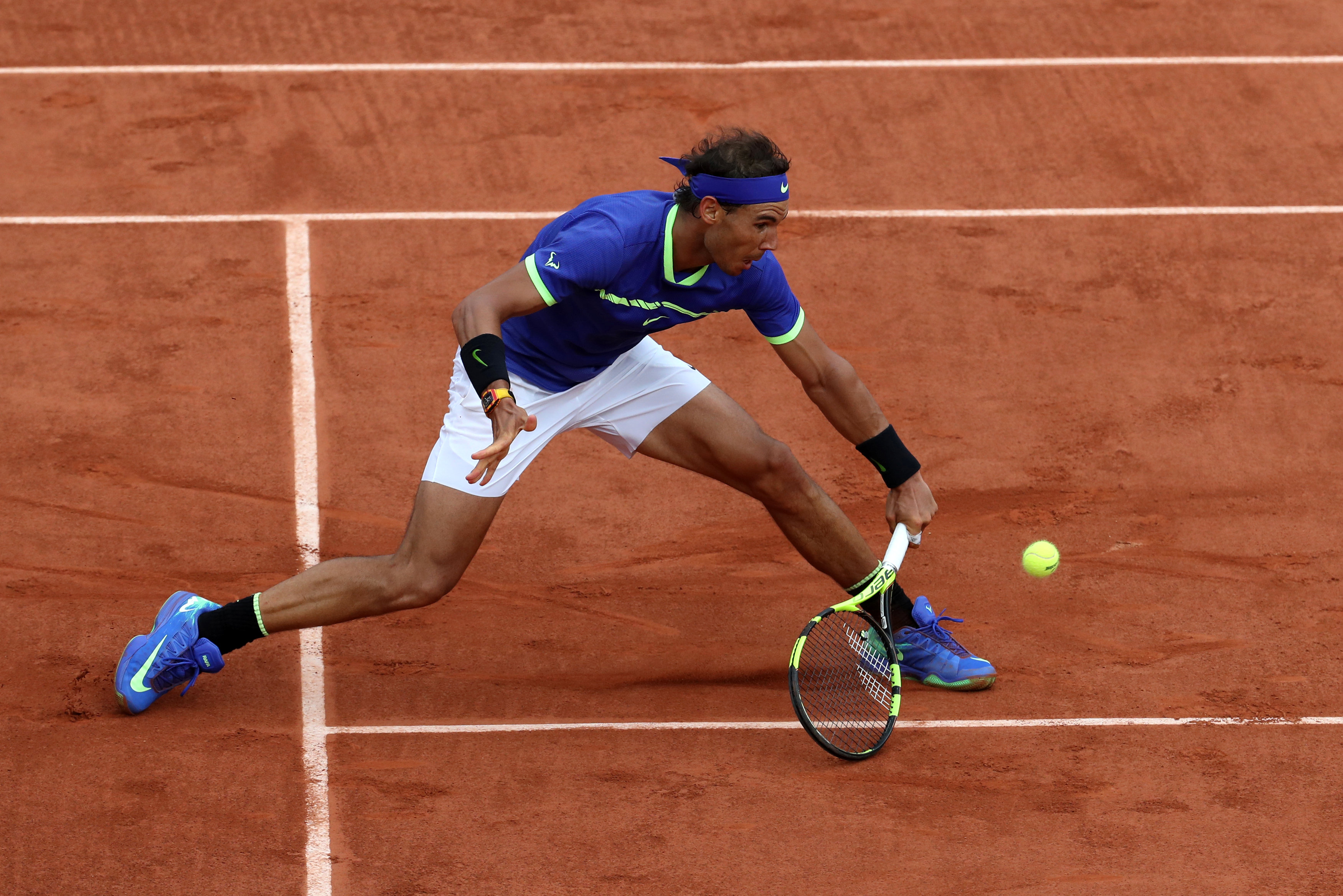 Spain's Rafael Nadal in action during the final against Switzerland's Stan Wawrinka Paris, France on June 11, 2017. (Reuters/Pascal Rossignol
