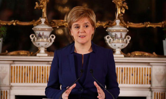 First Minister of Scotland Nicola Sturgeon addresses journalists in Edinburgh, Scotland on June 9, 2017. (Russell Cheyne - WPA Pool/Getty Images)