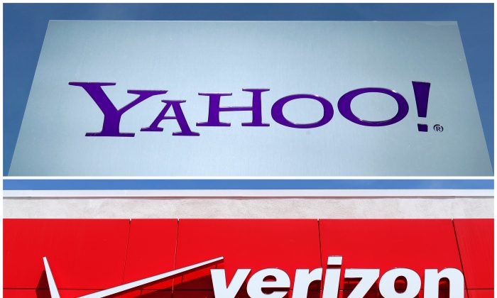 Yahoo logo in Rolle, Switzerland (top) in 2012 and a Verizon sign at a retail store in San Diego, California In 2016. (REUTERS)