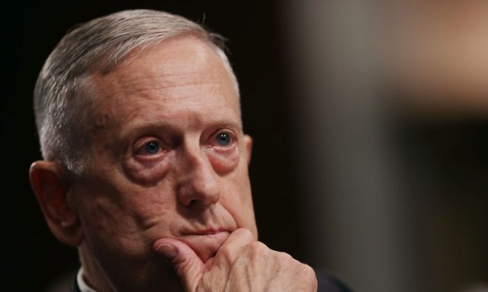 Defense Secretary James Mattis testifies before the Senate Armed Services Committee during a hearing in the Dirksen Senate Office Building on Capitol Hill in Washington on June 13, 2017. (Chip Somodevilla/Getty Images)
