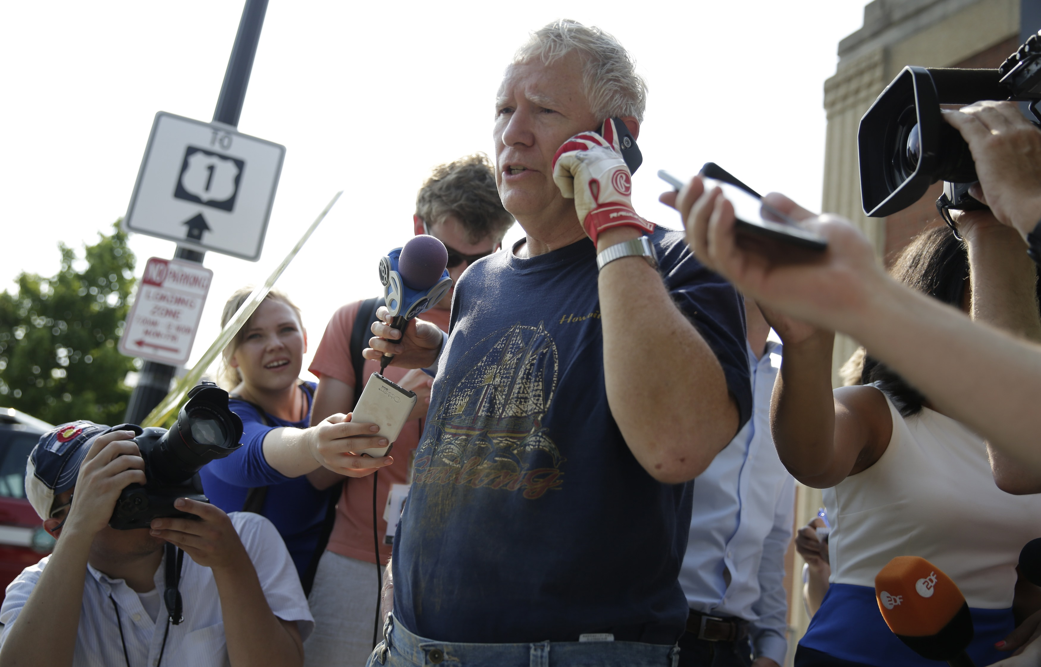 Rep. Mo Brooks (R-AL) talks to reporters  after a gunman opened fire on Republican members of Congress during a baseball practice near Washington in Alexandria, Virginia on June 14, 2017. (REUTERS/Joshua Roberts)