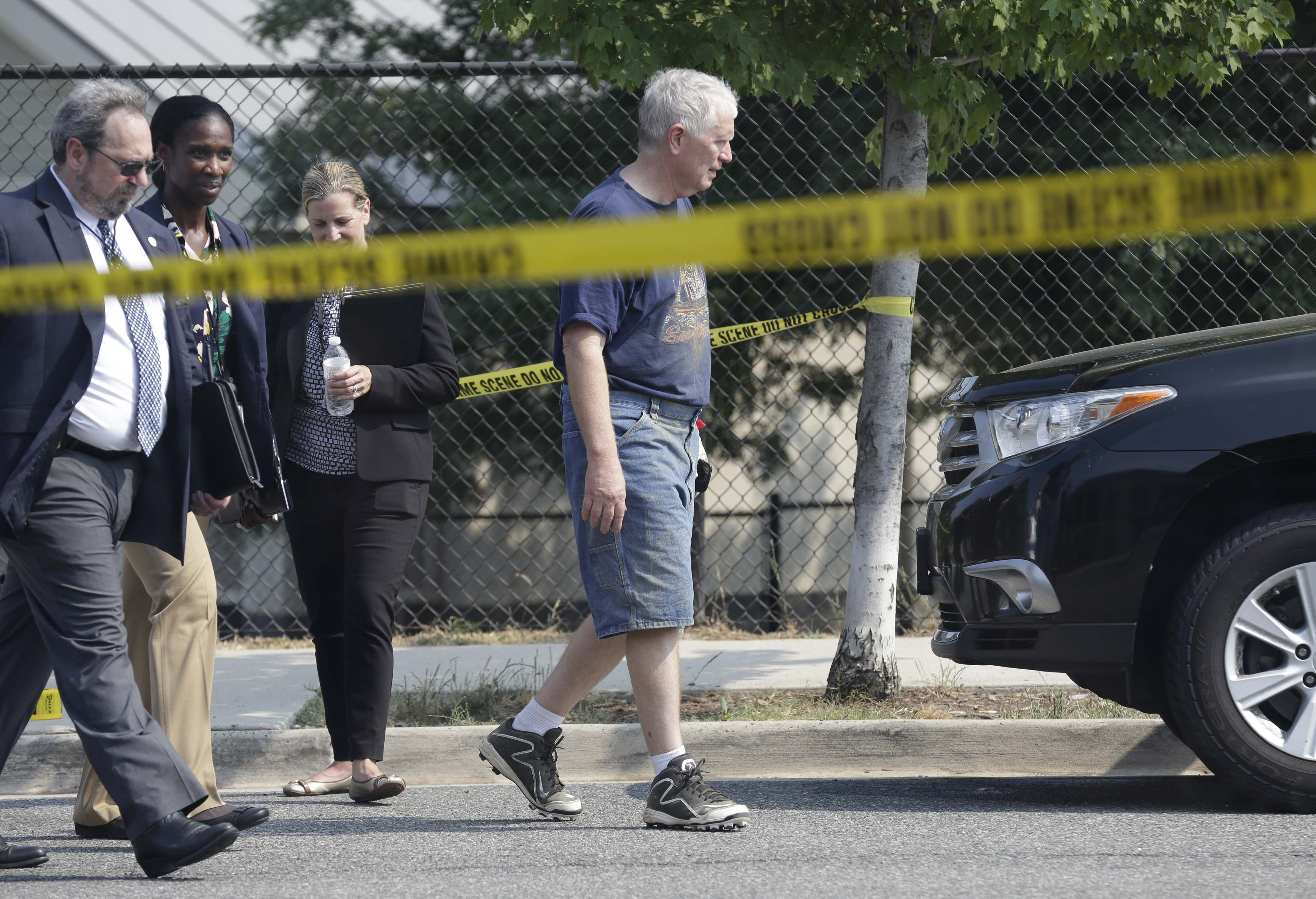 Rep. Mo Brooks (R-AL) departs a shooting scene after speaking to reporters near Washington in Alexandria, Virginia on June 14, 2017. (REUTERS/Joshua Roberts)