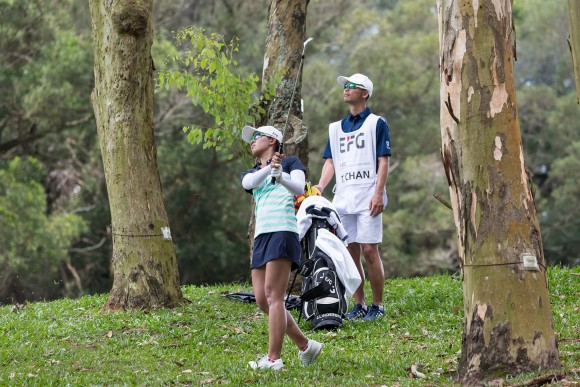 Hong Kong Olympic golfer and defending champion, Tiffany Chan plays out of trees in the final round of the EFG Hong Kong Ladies Open at Hong Kong Golf Club, Fanling on Sunday 11, 2017 (Dan Marchant)