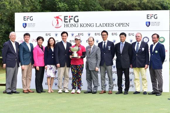 Dignitaries line up with Hong Kong Open winner Supamas Sangchan of Thailand at Hong Kong Golf Club, Fanling Golf Club, on Sunday June 11, 2017. (Bill Cox/Epoch Times)
