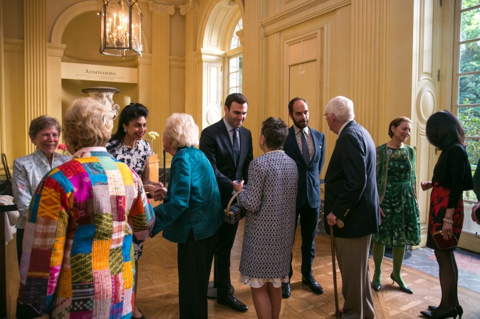 Guests meet the Frick's board members at the Spring Garden Party in New York on June 7, 2017. (Benjamin Chasteen/The Epoch Times)