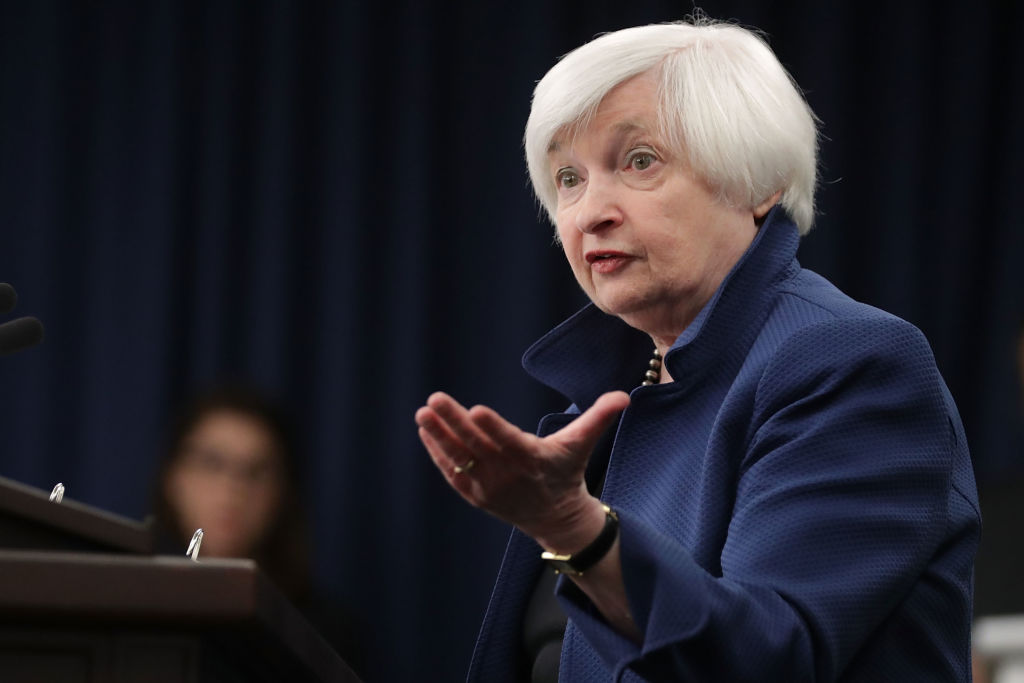 Federal Reserve Board Chairwoman Janet Yellen holds a news conference following a meeting of the Federal Open Market Committee in Washington on March 15, 2017.(Chip Somodevilla/Getty Images)