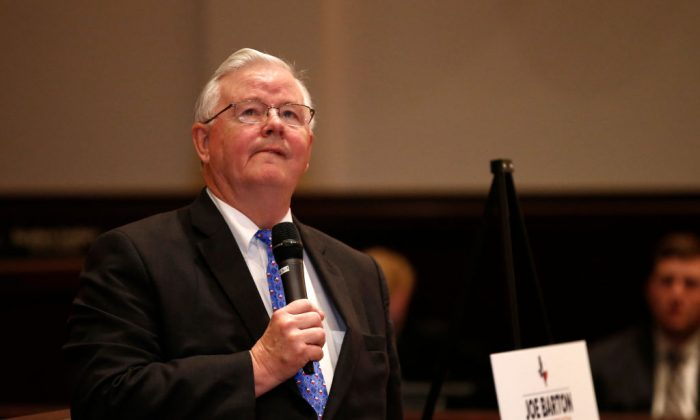 Rep. Joe Barton (R-TX) during a town hall meeting at Mansfield City Hall in Mansfield, Texas on April 13, 2017. (Mike Stone/Getty Images)