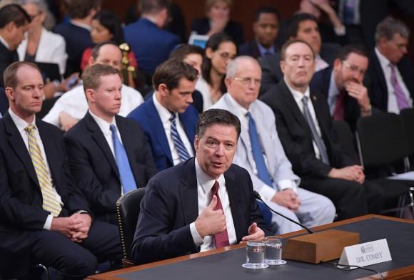 Former FBI director James Comey testifies before the Senate intelligence committee on  June 8, 2017. (MANDEL NGAN/AFP/Getty Images)