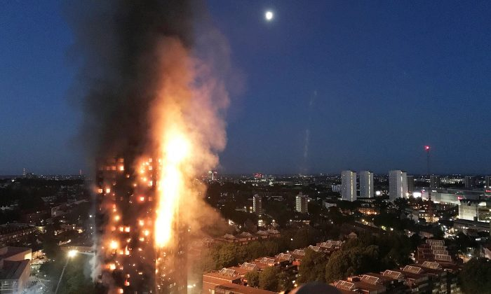A huge fire engulfs the 24 story Grenfell Tower in Latimer Road, West London, England on June 14, 2017.  (Gurbuz Binici /Getty Images)