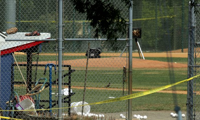 The Eugene Simpson Stadium Park where a gunman opened fire on a practice of the Republican congressional baseball in Alexandria, Virginia, on June 14. (Alex Wong/Getty Images)