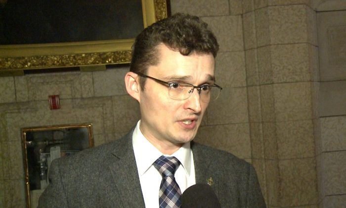 Conservative MP Tom Kmiec talks to NTD Televisions inside Parliament in Ottawa on May 2, 2017. Kmiec presented a petition in the House calling for the release of Canadian citizen Sun Qian, who was detained in Beijing in early February. (NTD Television)