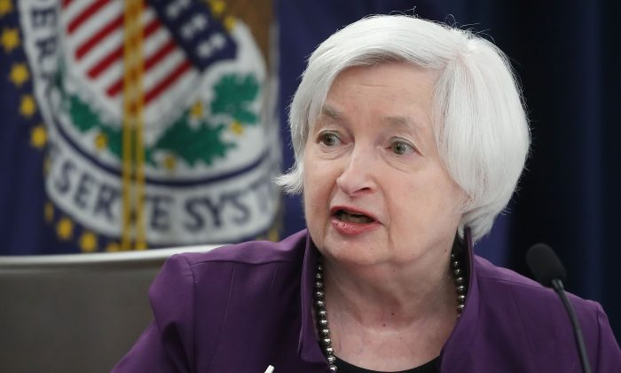 Fed chair Janet Yellen gave reporters in Washington a very positive outlook for the U.S. economy on June 14, 2017 after announcing a third policy rate increase in six months. (Mark Wilson/Getty Images)