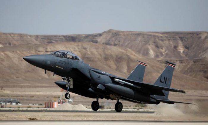 """A U.S. F-15 fighter jet takes off during an exercise dubbed """" Juniper Falcon"""", held between crews from the U.S. and Israeli air forces, at Ovda Military Airbase, in southern Israel on May 16, 2017. (Amir Cohen/Reuters)"""