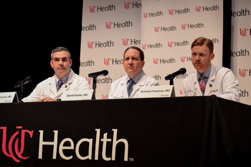 Dr. Jordan Bonomo (L), a Neurointensivist, Dr. Daniel Kanter (C), Medical Director of the Neuroscience Intensive Care Unit, and Dr. Brandon Forman (R), a Neurointensive Care Specialist, field questions about the condition and treatment of Otto Warmbier during a news conference at the University of Cincinnati Medical Center in Cincinnati, Ohio on June 15, 2017. (REUTERS/Bryan Woolston)