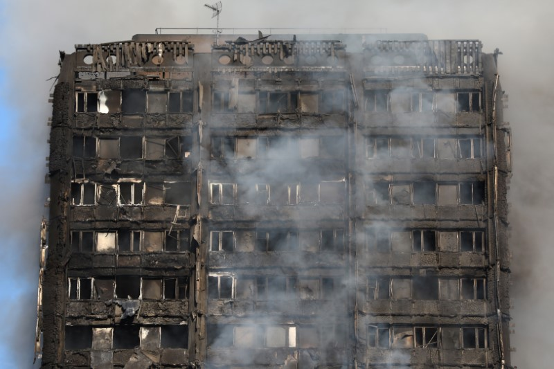 Smoke billows from the tower block. (REUTERS/Neil Hall)