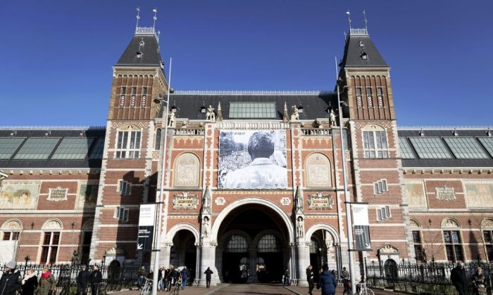 """A photo taken on February 14, 2017 shows a poster for the exhibit """"Good Hope: South-Africa and The Netherlands from 1600"""" at the Rijksmuseum in Amsterdam.  (REMKO DE WAAL/AFP/Getty Images)"""