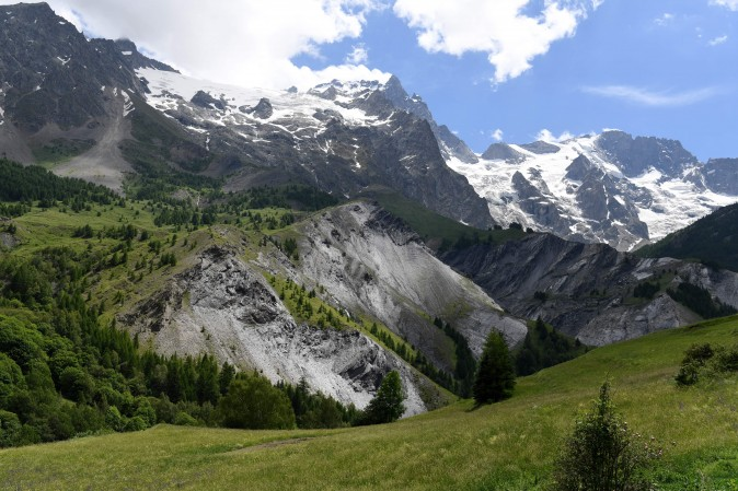 La Meije and its glacier seen from La Grave in the Hautes-Alpes, France, on June 16, 2017. (JEAN-PIERRE CLATOT/AFP/Getty Images)