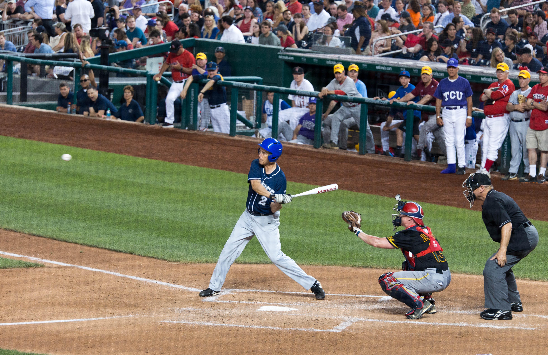 Democratic Rep. Jared Huffman (CA-02) batting at the Congressional Baseball Game. (Paul Huang)