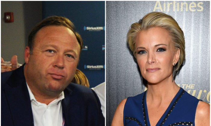 L: Alex Jones of Infowars on July 20, 2016 in Cleveland, Ohio (Ben Jackson/Getty Images for SiriusXM); R: Journalist Megyn Kelly on April 6, 2016 in New York City. (Dimitrios Kambouris/Getty Images for Hollywood Reporter )