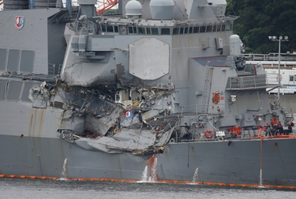 The Arleigh Burke-class guided-missile destroyer USS Fitzgerald, damaged by colliding with a Philippine-flagged merchant vessel, at the U.S. naval base in Yokosuka, Japan on June 18, 2017. (Toru Hanai/ REUTERS)