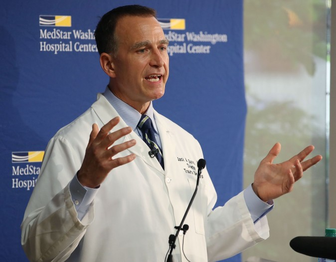 Dr. Jack Sava, director of trauma at MedStar Washington Hospital Center, talks about the condition of House Majority Whip Steve Scalise (R-LA), on June 16, 2017.  (Mark Wilson/Getty Images)