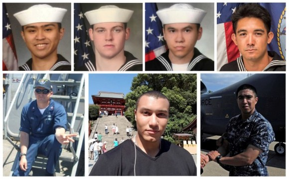 A combination photo of the dead sailors identified by the U.S. Navy in the collision incident between U.S. Navy destroyer USS Fitzgerald and Philippine-flagged merchant vessel south of Tokyo Bay on June 17, 2017. Top row (L-R) Fire Controlman 2nd Class Carlos Victor Ganzon Sibayan, 23, from Chula Vista, CA; Gunner's Mate Seaman Dakota Kyle Rigsby, 19, from Palmyra, VA; Sonar Technician 3rd Class Ngoc T Truong Huynh, 25, from Oakville, CT; and Yeoman 3rd Class Shingo Alexander Douglass, 25, from San Diego, CA. Bottom row (L-R)  Fire Controlman 1st Class Gary Leo Rehm Jr., from Elyria, OH; Personnel Specialist 1st Class Xavier Alec Martin, 24, from Halethorpe, MD; and Gunner's Mate 2nd Class Noe Hernandez, 26, from Weslaco, TX.   (U.S. Navy/Handout via Reuters)