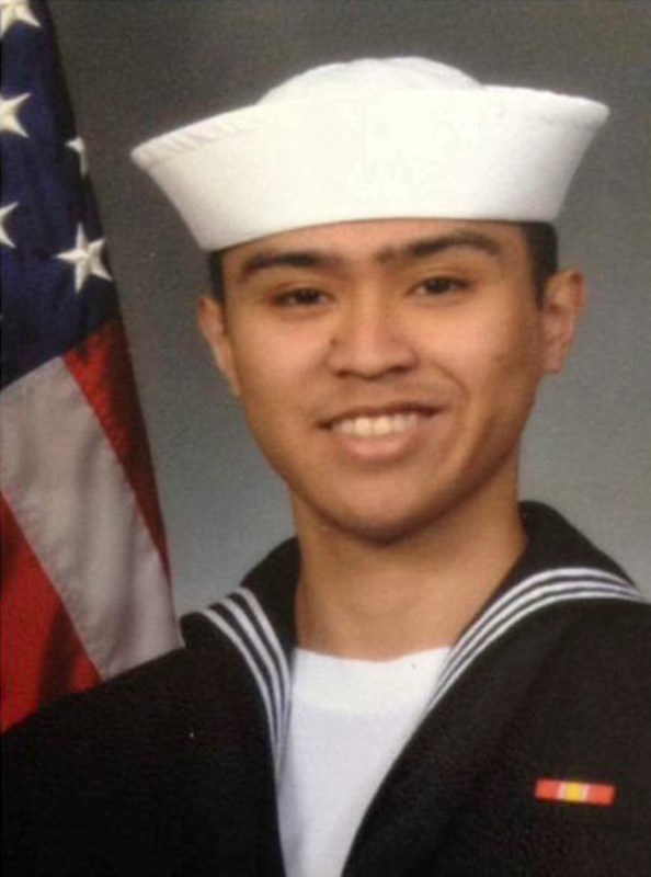 Fire Controlman 2nd Class Carlos Victor Ganzon Sibayan, 23, from Chula Vista, California, one of the dead sailors identified by the U.S. Navy from a collision between the U.S. Navy destroyer USS Fitzgerald and Philippine-flagged merchant vessel, is seen in this undated handout photo released by the U.S. Navy on June 19, 2017. (Courtesy of U.S. Navy/Handout via Reuters)