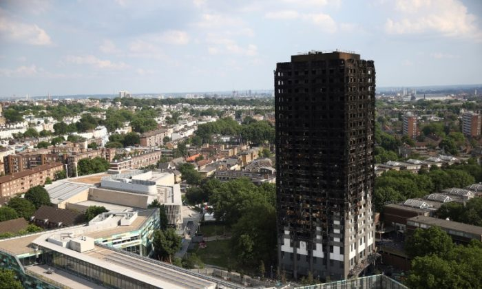 File photo: The burnt out remains of the Grenfell apartment tower are seen in North Kensington, London, Britain, June 18, 2017. (Neil Hall/Reuters)