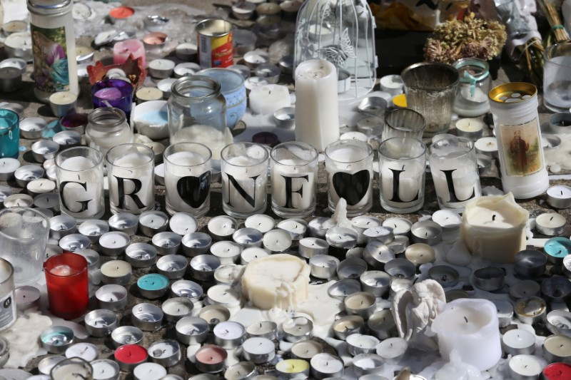 A tribute to the victims of the Grenfell Tower fire is seen in North Kensington, London, Britain on June 19, 2017. (REUTERS/Marko Djurica)