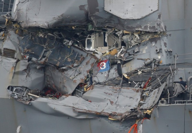 The damaged USS Fitzgerald. (Toru Hanai/Reuters)