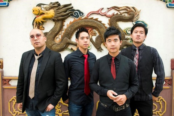 Members of the Portland, Oregon-based Asian-American rock band The Slants (L-R) Tyler Chen, Ken Shima, Simon Tam, Joe X. Jiang pose in Portland, Oregon, U.S., August 21, 2015 in a picture released by band representatives.  (Anthony Pidgeon/Handout via Reuters)