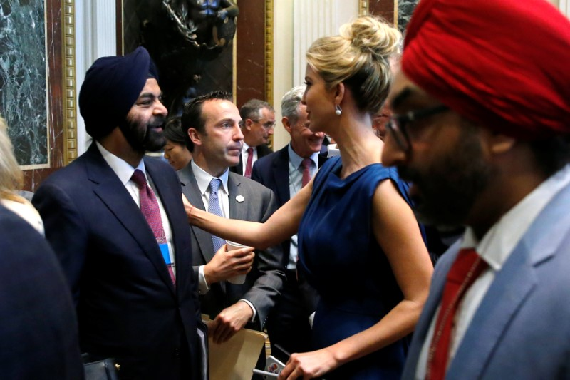 MasterCard CEO Ajay Banga (L) speaks with Ivanka Trump as tech company leaders gather at a summit of the American Technology Council at the Eisenhower Executive Office Building in Washington on June 19, 2017. (REUTERS/Jonathan Ernst)
