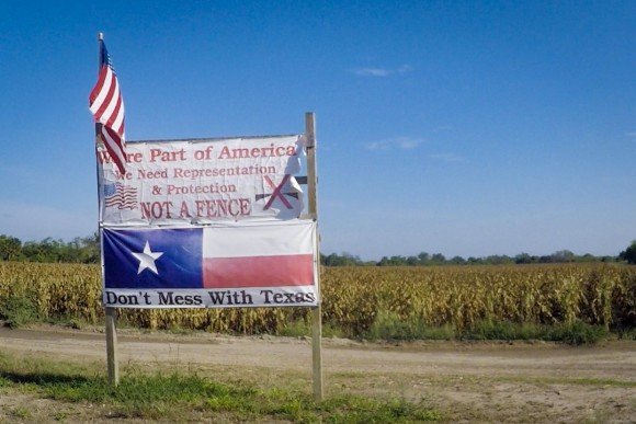 The sign Pamela Taylor erected in 2007, after the government decided to build border fencing in Brownsville, Texas.
