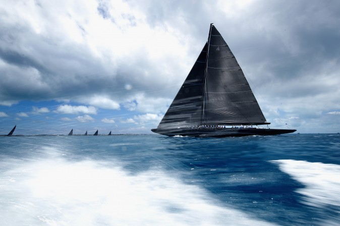 Yachts race during America's Cup J Class Regatta in Hamilton, Bermuda, on June 19, 2017. (Clive Mason/Getty Images)