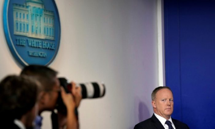 White House Press Secretary Sean Spicer looks at a photographer during the daily briefing at the White House in Washington, DC. on June 12, 2017. (Carlos Barria/Reuters)