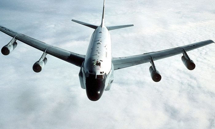 An air-to-air front view of an RC-135 Stratolifter. (By Master Sgt. Patrick Nugent via Wikimedia Commons)