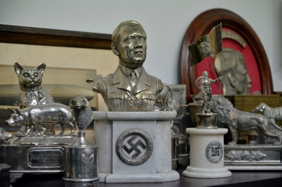 A bust of dictator Adolf Hitler, among other Nazi artifacts seized in the house of an art collector, is on display in Buenos Aires, in this undated handout released on June 20, 2017. (Courtesy of the Argentine Ministry of Security/Handout via Reuters)