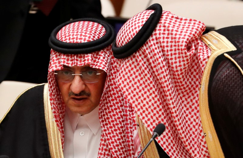 Crown Prince Muhammad bin Nayef of Saudi Arabia confers with a member of his delegation during a high-level meeting on addressing large movements of refugees and migrants at the United Nations General Assembly in Manhattan, New York on Sept. 19, 2016. (REUTERS/Lucas Jackson)